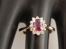 Pigeon Blood Red Ruby no heat Diamond Engagement Ring Halo 1.03 tcw G/SI 14k YG