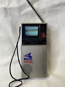 Sony Watchman Mini Flat Black White TV FD-20A Tested Works Chicago White Sox Mlb