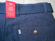 NWT LEVIS levi's size 30 SNAP CARGO SHORTS navy blue WITH BELT men's mens NEW
