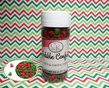 Red & Green Trees  Edible Confetti Sprinkles 2.6 oz Cake Cookie Christmas Quins