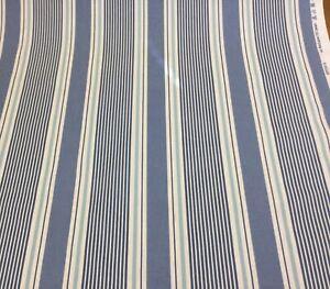 Clarke+Clarke SAIL STRIPE CLOUD (Blue)Nautical Cotton Fabric.Curtains/Upholstery