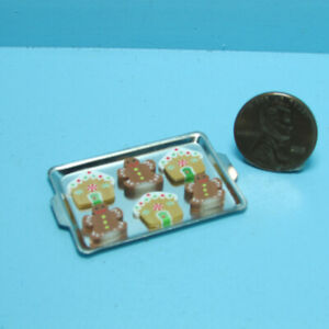 Dollhouse Miniature Christmas Gingerbread Men & House Cookies on Cookie Sheet