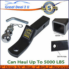 """2"""" 50MM TOWBAR TONGUE BALL MOUNT HITCH TRAILER 4WD 5000LBS HAYMAN REESE TYPE"""