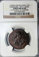 1790's Great Britain Middlesex Halfpenny Conder Token D&H-953a NGC MS-64 RB