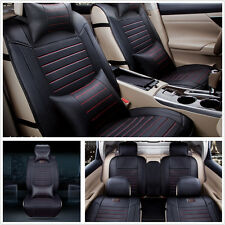 Deluxe Edition PU Leather Car Seat Cover 5-Seats Front+Rear Seat Cushion+Pillows