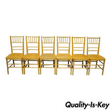 Set of 6 Vintage Wooden Faux Bamboo Chiavari Banquet Dining Chairs
