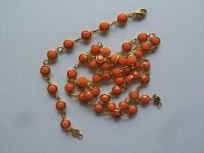 Vintage Bezel Set Coral Color Crystal Necklace & Bracelet Signed