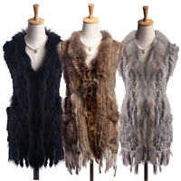 Womens Real Knitted Rabbit Fur Waistcoat Fur Collar With Tassels Gilet Warm Vest