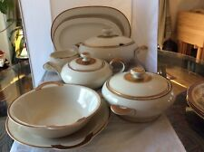 Vintage EDELSTEIN PORCELAIN FACTORY, 8 Serving Dishes, Cream w/ Gold