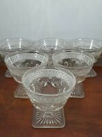 Vintage custard cups 6 footed pressed glass polka dot square base dessert clear