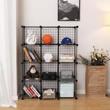 Songmics 12 Cube Interlocking Storage Rack with Metal Wire Mesh Shelves...