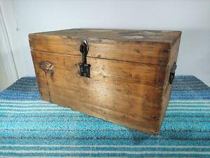 Pine Box Trunk, Plank Construction Iron Handles, Vintage Chest Storage Coffee