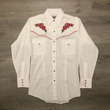 Ely Cattleman Mens Rose Embroidered Western Shirt Snap Button Size Small