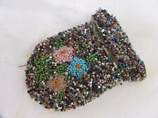 ANTIQUE VICTORIAN MICRO BEADWORK on NET PURSE RETICULE - FLOWERS - c1840