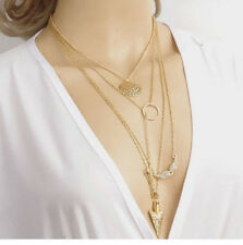 Ladies Jewelry Crystal Chain Chunky Statement Bib Pendant Necklace Free Shipping