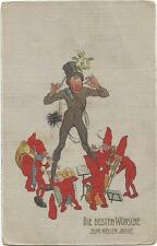 Gnomes, Gnome Music Band with a Chimney Sweeper Band Master, Old Postcard