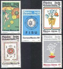 Mexico 1979 Football/Sports/Games/Basketball/Doves/Gymnastics 5v set  (n25397)