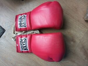 RARE VINTAGE CLETO REYES RED LEATHER LACE UP 14oz BOXING GLOVES