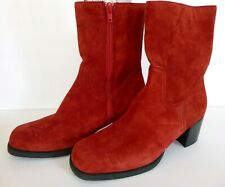 Red Suede  Leather Hush Puppy Boots Womens 9M Side Zipper