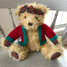 "Hallmark Merrily Bear Plush Christmas Stuffed 10"" Plaid Red Green Snowman"