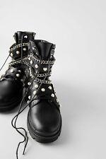 Zara Biker Ankle Boots Pearls Chain UK4 EUR37 US6.5