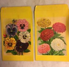 PAIR 1920s VTG LITHO LARGE SEED ENVELOPES PANSY & MARIGOLDS HAMMERLITH*ROCH