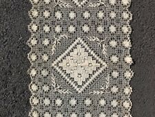 """Off-White Vintage Crochet Lace Table Runner 16.5"""" x 72""""  Exquisite!"""