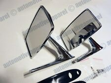 CHROME SQUARE MIRRORS VINTAGE METAL STYLE MUSCLECAR RESTO HOTROD CLASSIC KIT