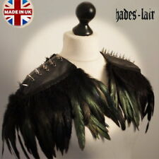 UNISEX BIKER PUNK STUDDED STEAMPUNK JACKET FEATHER GOTH LEATHER TOP EPAULETTES