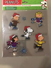 Peanuts Christmas Skating Jelz Window Clings Snoopy Charlie Brown Lucy Sally NEW