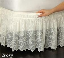 """Easy on Wrap Around IVORY Lace Bed Skirt Ruffle Fits  Queen King 15"""" Drop"""