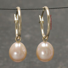 TPJ 14k Yellow Gold Hoop 15 X1.25mm in Diameter; Peach Cultured Pearl Earrings