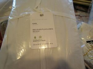 "Pottery Barn 18"" drop Belgian Flax Linen Bedskirt  King New w tag"