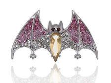 Topaz Crystal Body Rhine Painted Fuchsia Pink Wing Vampire Bat Pin Brooch ELA