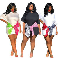 US Women Fashion Short Sleeves Printed Color Block Bandage Casual T-shirt Dress