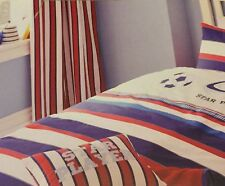 """BOYS BLACKOUT LINED BEDROOM CURTAINS STRIPED BLUE RED WHITE TIE BACKS 66x72"""""""