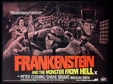 FRANKENSTEIN AND THE MONSTER FROM HELL CUSHING HAMMER HORROR 1974 BRITISH QUAD