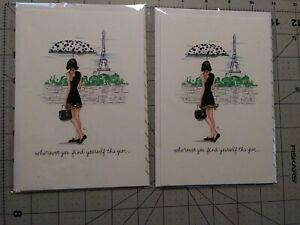 Hallmark Signature Find Yourself Parisian Greeting Cards 2 count w/ 3D umbrella