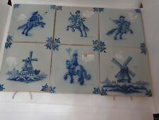 Vintage Set Of 6 Makkum Holland Cobalt Blue Painted Tiles Windmill Delft Horse