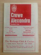 Crewe v Orient 1968-69 programme