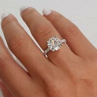 2.50 Ct Round Cut Solitaire Diamond Engagement Wedding Ring 14K White Gold Over