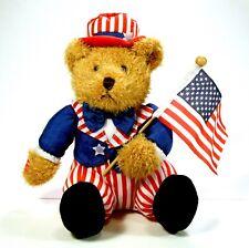 Ganz Stuffed Bear 4th of July Flag God Bless America Patriotic Eg7030 Euc