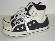 CONVERSE Black & White Denim High Top Sneakers - Chuck Taylor - Youth 4