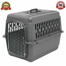 Pet Porter Dog Crate Medium Cage 28 Travel Plastic Airline Approved Kennel Gray
