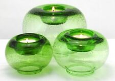 Green Bubble Art Glass Tealight Votive Candle Holders Set of 3 Stair Stacking