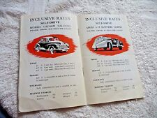 VINTAGE PAMPHLET UK BRITAIN RENT A CAR CLIFFORD CAB CO AUSTIN A-40 MORRIS c1950