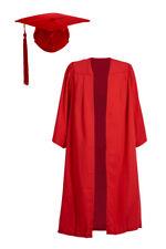 Rojo Soltero Ba Graduación Vestido Mortero Tabla Birrete Tapa Plano Bata