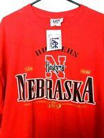 Vintage NEBRASKA CORNHUSKERS T Shirt University XXL Made USA Huskers New Red