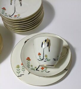Royal Doulton, Deco,'Eden V1112' Pattern Trio.X 9 ( Perfect) +others as spares.