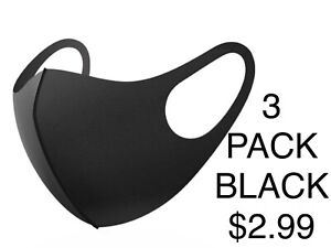 Neoprene Face Mask Nose and Mouth Cover Protection 3 Pack Black